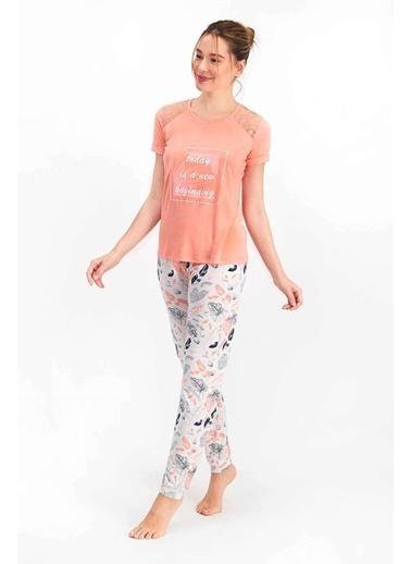 Arnetta Leaf Pattern Açık Şeftali Kadın Kısa Kol Pijama Takımı Oranj